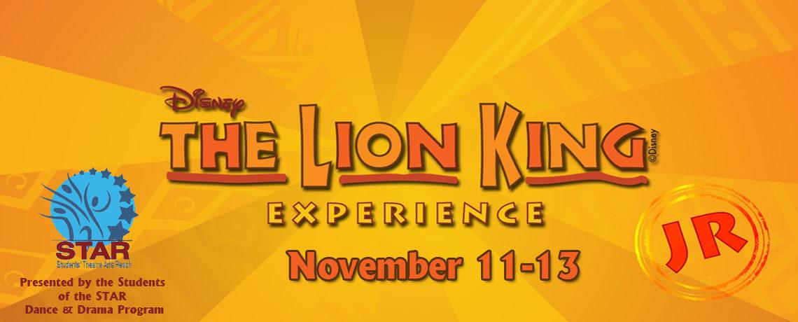 The Lion King, Jr. ~ November 11-13