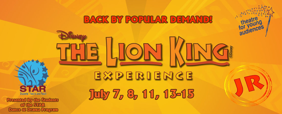 Disney's The Lion King, Jr. ~ July 7, 8, 11, 13-15